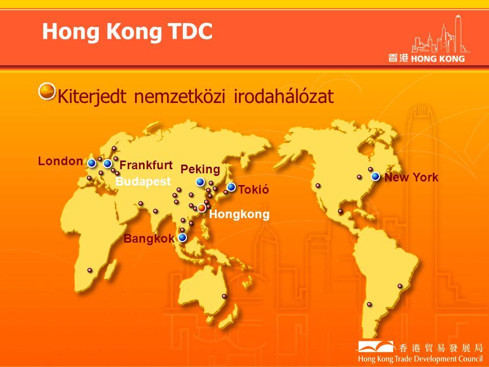 Hong Kong TDC Kiterjedt nemzetközi irodahálózat London Frankfurt Peking Bangkok Hongkong Tokió New York Budapest