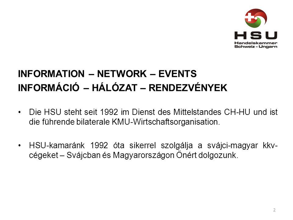 INFORMATION – NETWORK – EVENTS INFORMÁCIÓ – HÁLÓZAT – RENDEZVÉNYEK Die HSU steht seit 1992 im Dienst des Mittelstandes CH-HU und ist die führende bilaterale KMU-Wirtschaftsorganisation.