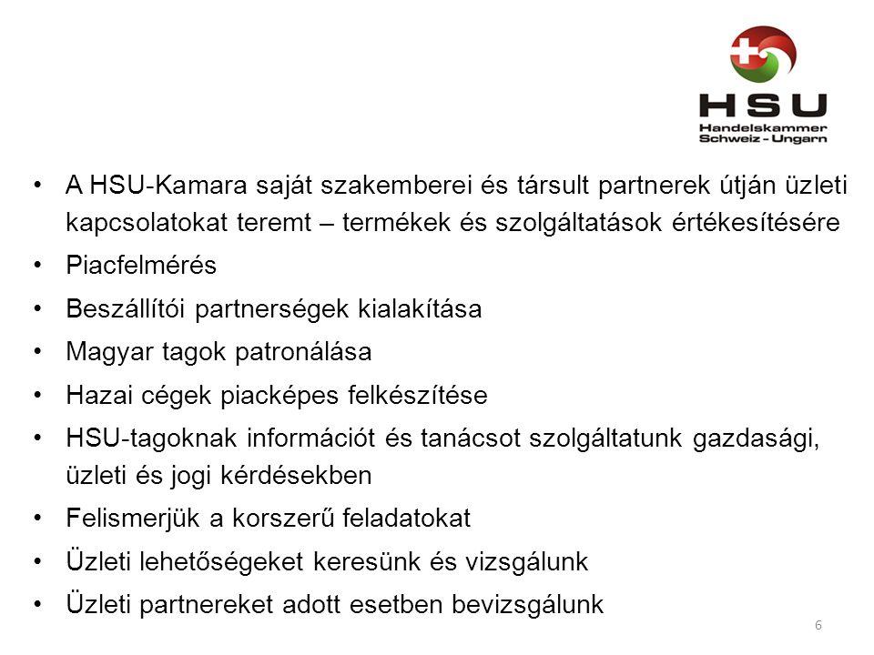 A HSU-Kamara saját szakemberei és társult partnerek útján üzleti kapcsolatokat teremt – termékek és szolgáltatások értékesítésére Piacfelmérés Beszállítói partnerségek kialakítása Magyar tagok patronálása Hazai cégek piacképes felkészítése HSU-tagoknak információt és tanácsot szolgáltatunk gazdasági, üzleti és jogi kérdésekben Felismerjük a korszerű feladatokat Üzleti lehetőségeket keresünk és vizsgálunk Üzleti partnereket adott esetben bevizsgálunk 6