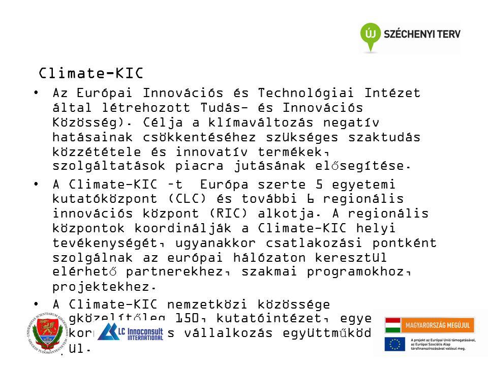 Climate-KIC Az Európai Innovációs és Technológiai Intézet által létrehozott Tudás- és Innovációs Közösség). Célja a klímaváltozás negatív hatásainak c