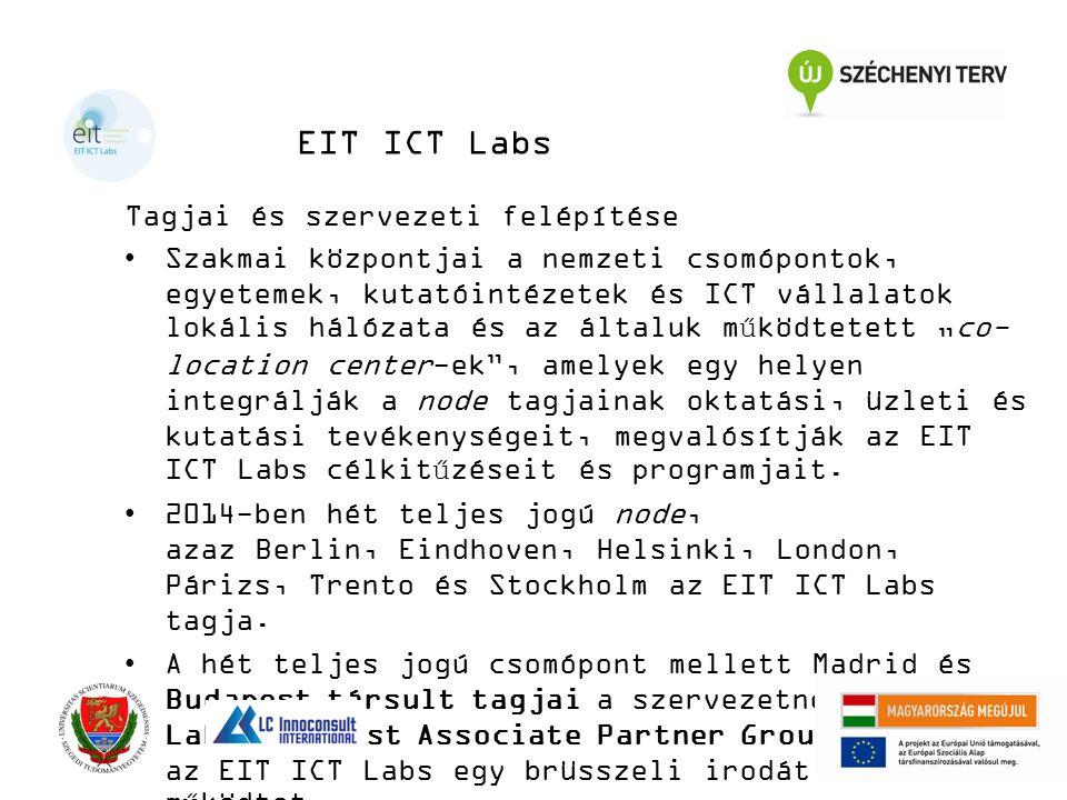 """EIT ICT Labs Tagjai és szervezeti felépítése Szakmai központjai a nemzeti csomópontok, egyetemek, kutatóintézetek és ICT vállalatok lokális hálózata és az általuk működtetett """"co- location center-ek , amelyek egy helyen integrálják a node tagjainak oktatási, üzleti és kutatási tevékenységeit, megvalósítják az EIT ICT Labs célkitűzéseit és programjait."""