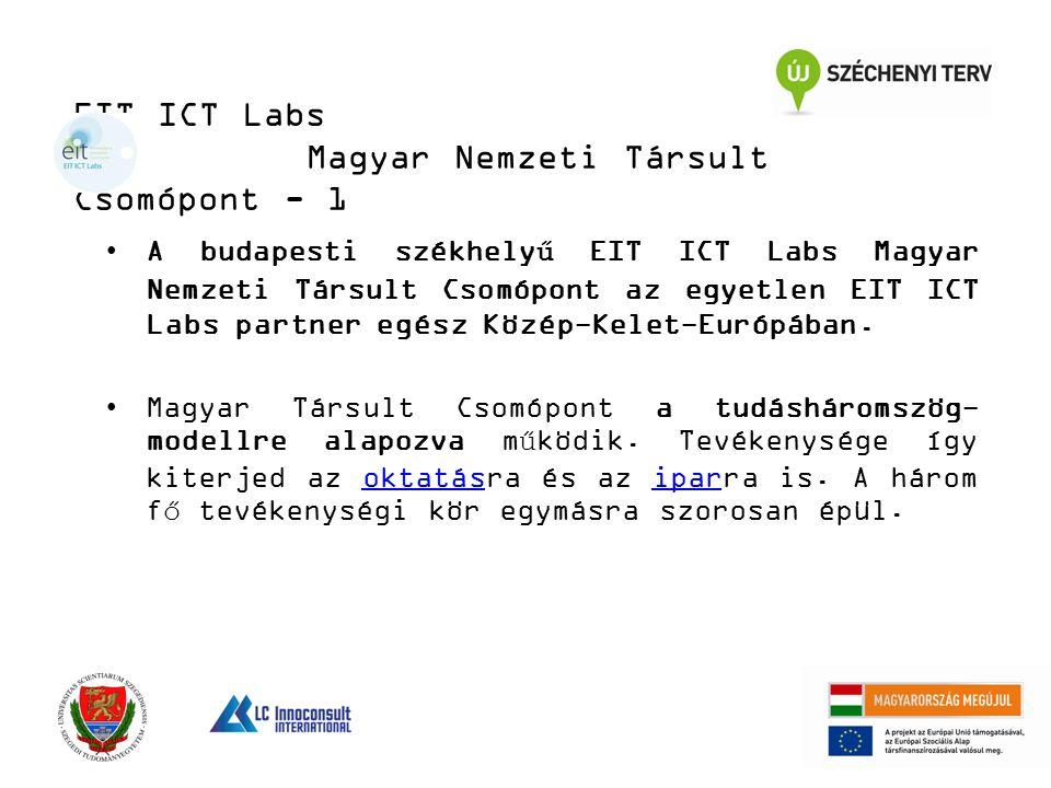 EIT ICT Labs Magyar Nemzeti Társult Csomópont - 1 A budapesti székhelyű EIT ICT Labs Magyar Nemzeti Társult Csomópont az egyetlen EIT ICT Labs partner egész Közép-Kelet-Európában.