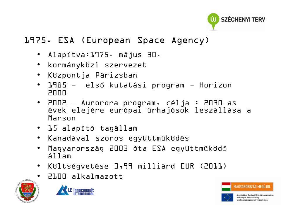 14 Alapítva:1975. május 30. kormányközi szervezet Központja Párizsban 1985 - első kutatási program - Horizon 2000 2002 - Aurorora-program, célja : 203