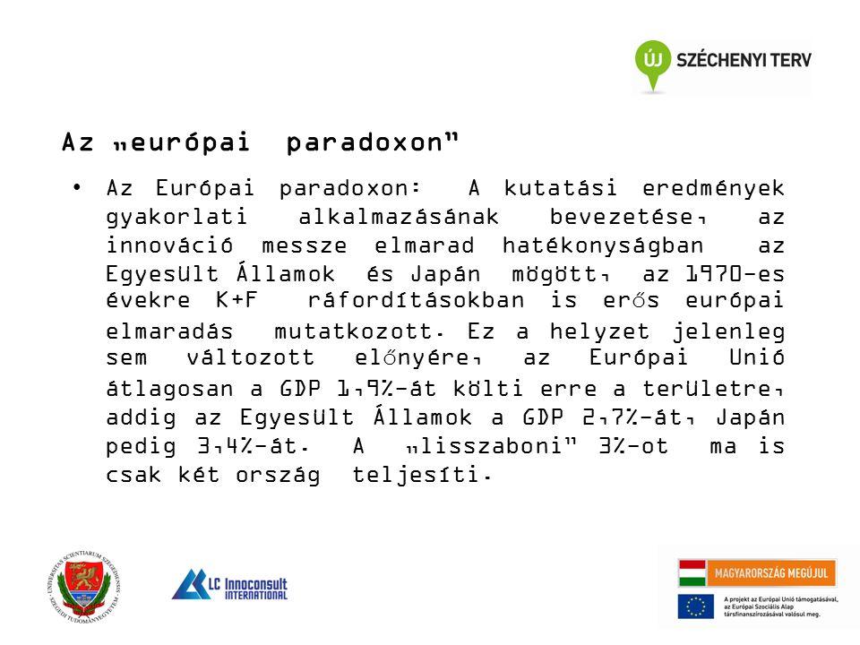 """Az """"európai paradoxon"""" Az Európai paradoxon: A kutatási eredmények gyakorlati alkalmazásának bevezetése, az innováció messze elmarad hatékonyságban az"""