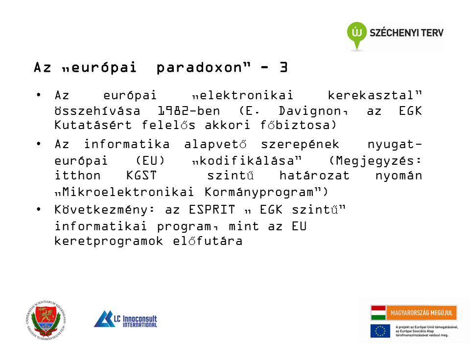 """Az """"európai paradoxon"""" - 3 Az európai """"elektronikai kerekasztal"""" összehívása 1982-ben (E. Davignon, az EGK Kutatásért felelős akkori főbiztosa) Az inf"""