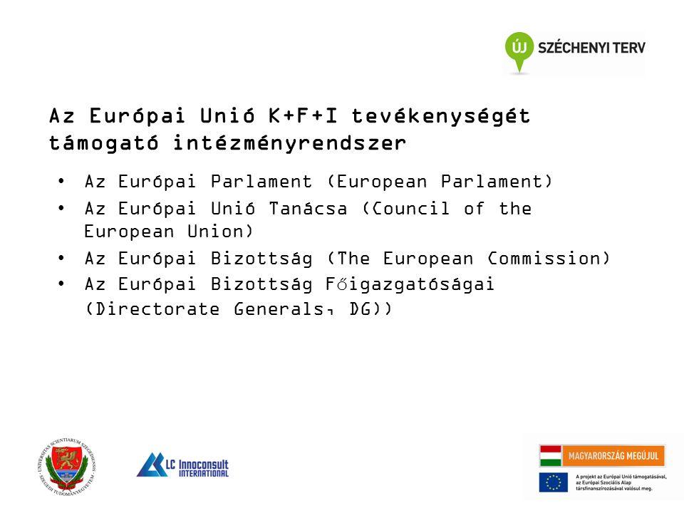 Az Európai Unió K+F+I tevékenységét támogató intézményrendszer Az Európai Parlament (European Parlament) Az Európai Unió Tanácsa (Council of the European Union) Az Európai Bizottság (The European Commission) Az Európai Bizottság Főigazgatóságai (Directorate Generals, DG))
