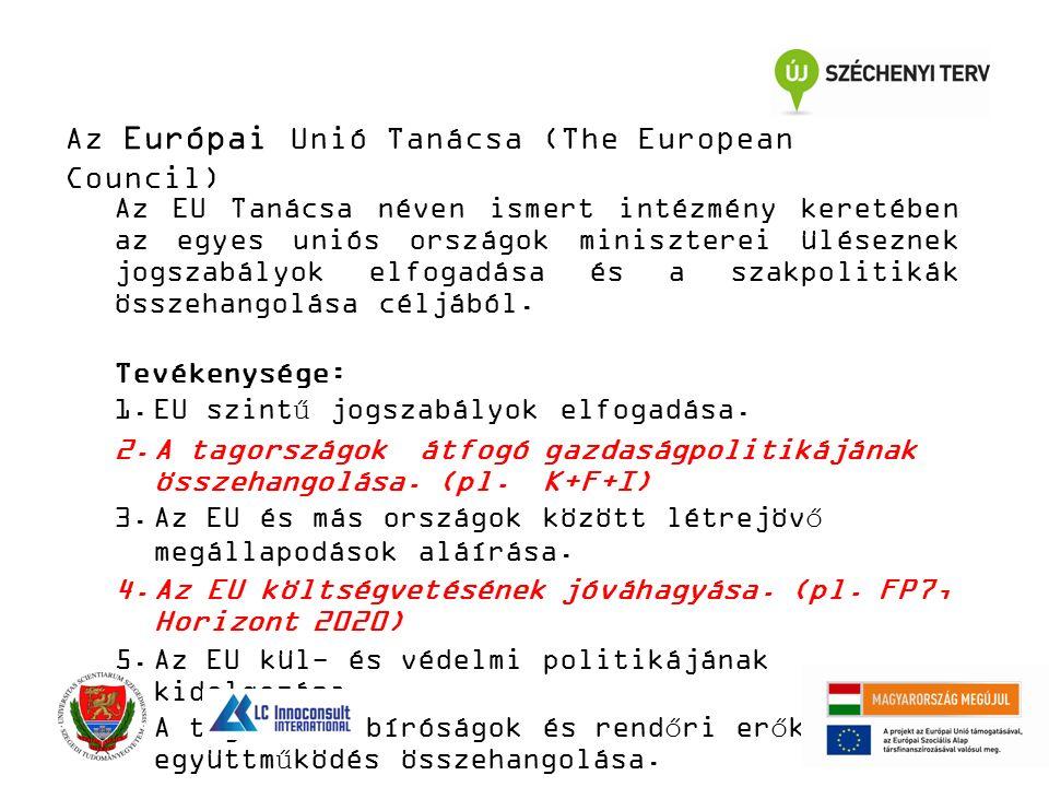 Az Európai Unió Tanácsa (The European Council) Az EU Tanácsa néven ismert intézmény keretében az egyes uniós országok miniszterei üléseznek jogszabály