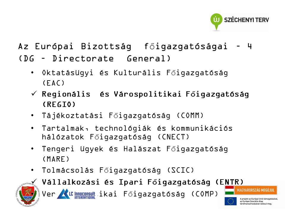Az Európai Bizottság főigazgatóságai – 4 (DG – Directorate General) Oktatásügyi és Kulturális Főigazgatóság (EAC) Regionális és Várospolitikai Főigazgatóság (REGIO) Tájékoztatási Főigazgatóság (COMM) Tartalmak, technológiák és kommunikációs hálózatok Főigazgatóság (CNECT) Tengeri ügyek és Halászat Főigazgatóság (MARE) Tolmácsolás Főigazgatóság (SCIC) Vállalkozási és Ipari Főigazgatóság (ENTR) Versenypolitikai Főigazgatóság (COMP)