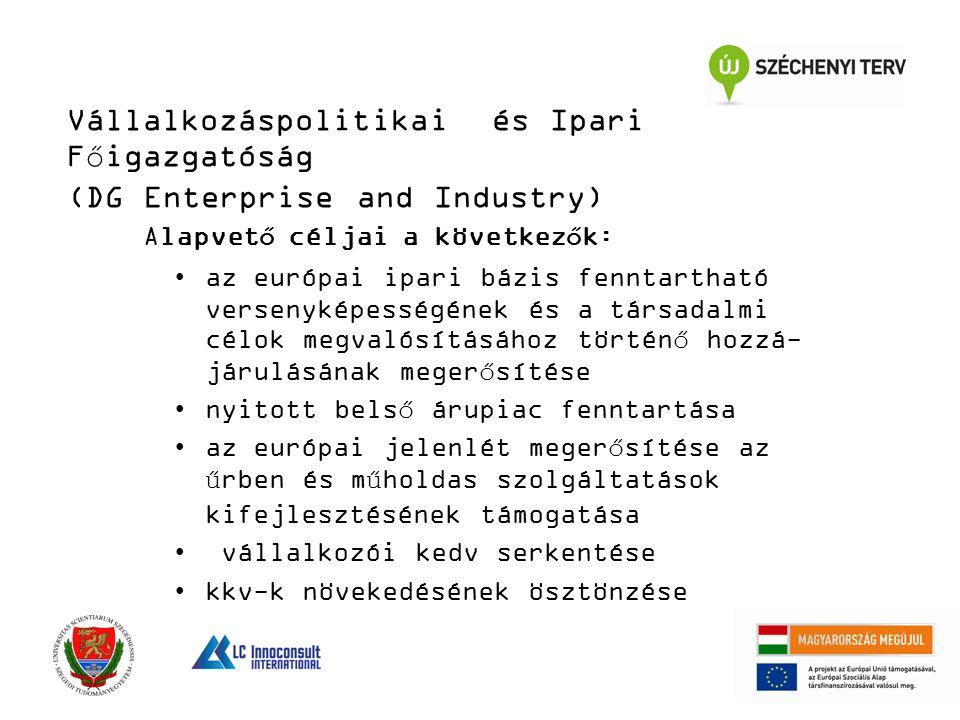 Vállalkozáspolitikai és Ipari Főigazgatóság (DG Enterprise and Industry) Alapvető céljai a következők: az európai ipari bázis fenntartható versenyképe