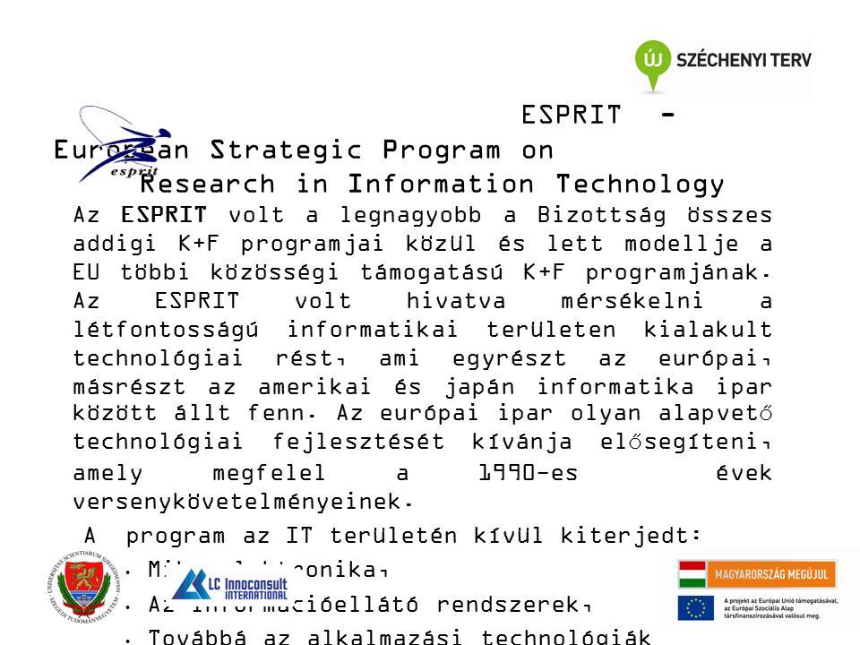 ESPRIT - European Strategic Program on Research in Information Technology Az ESPRIT volt a legnagyobb a Bizottság összes addigi K+F programjai közül és lett modellje a EU többi közösségi támogatású K+F programjának.