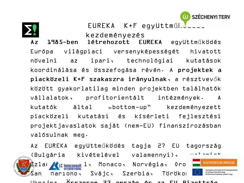 EUREKA K+F együttműködési kezdeményezés Az 1985-ben létrehozott EUREKA együttműködés Európa világpiaci versenyképességét hivatott növelni az ipari, technológiai kutatások koordinálása és összefogása révén.