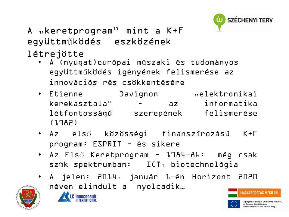 """A """"keretprogram mint a K+F együttműködés eszközének létrejötte A (nyugat)európai műszaki és tudományos együttműködés igényének felismerése az innovációs rés csökkentésére Etienne Davignon """"elektronikai kerekasztala – az informatika létfontosságú szerepének felismerése (1982) Az első közösségi finanszírozású K+F program: ESPRIT – és sikere Az Első Keretprogram – 1984-86: még csak szűk spektrumban: ICT, biotechnológia A jelen: 2014."""