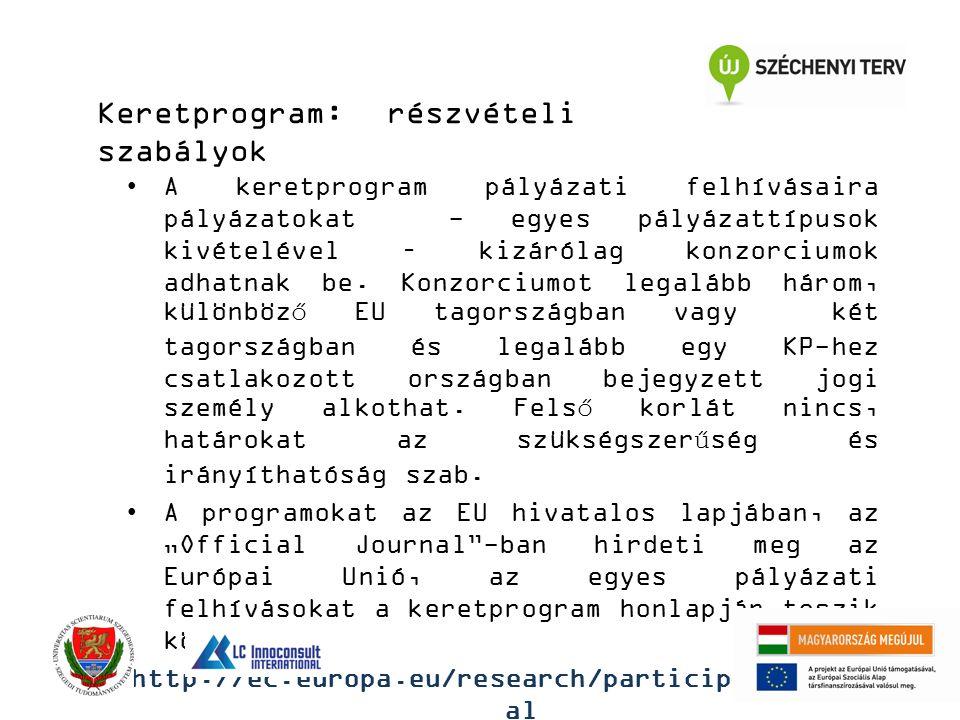 Keretprogram: részvételi szabályok A keretprogram pályázati felhívásaira pályázatokat - egyes pályázattípusok kivételével – kizárólag konzorciumok adh