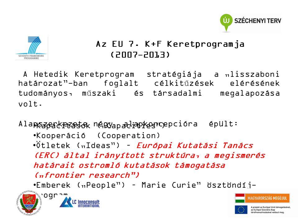 """Az EU 7. K+F Keretprogramja (2007-2013) A Hetedik Keretprogram stratégiája a """"lisszaboni határozat""""-ban foglalt célkitűzések elérésének tudományos, mű"""