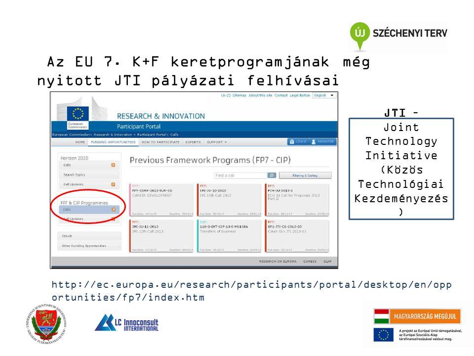 Az EU 7. K+F keretprogramjának még nyitott JTI pályázati felhívásai http://ec.europa.eu/research/participants/portal/desktop/en/opp ortunities/fp7/ind