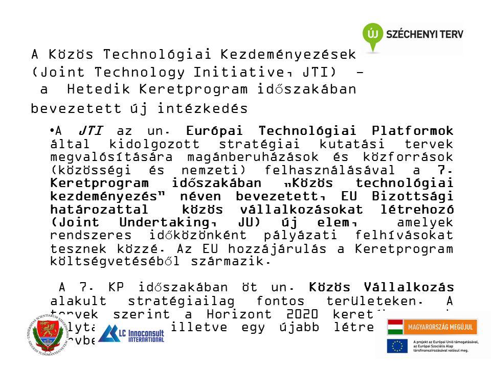 A Közös Technológiai Kezdeményezések (Joint Technology Initiative, JTI) - a Hetedik Keretprogram időszakában bevezetett új intézkedés A JTI az un. Eur