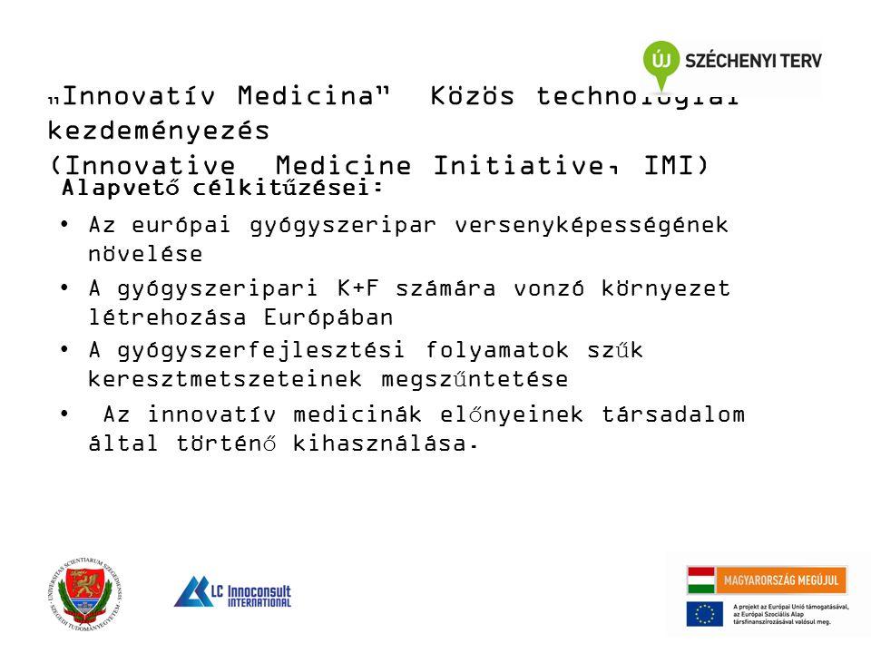 """"""" Innovatív Medicina Közös technológiai kezdeményezés (Innovative Medicine Initiative, IMI) Alapvető célkitűzései: Az európai gyógyszeripar versenyképességének növelése A gyógyszeripari K+F számára vonzó környezet létrehozása Európában A gyógyszerfejlesztési folyamatok szűk keresztmetszeteinek megszűntetése Az innovatív medicinák előnyeinek társadalom által történő kihasználása."""