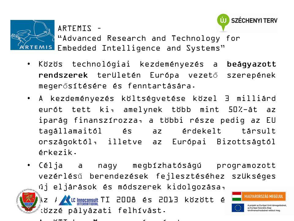 ARTEMIS – Advanced Research and Technology for Embedded Intelligence and Systems Közös technológiai kezdeményezés a beágyazott rendszerek területén Európa vezető szerepének megerősítésére és fenntartására.