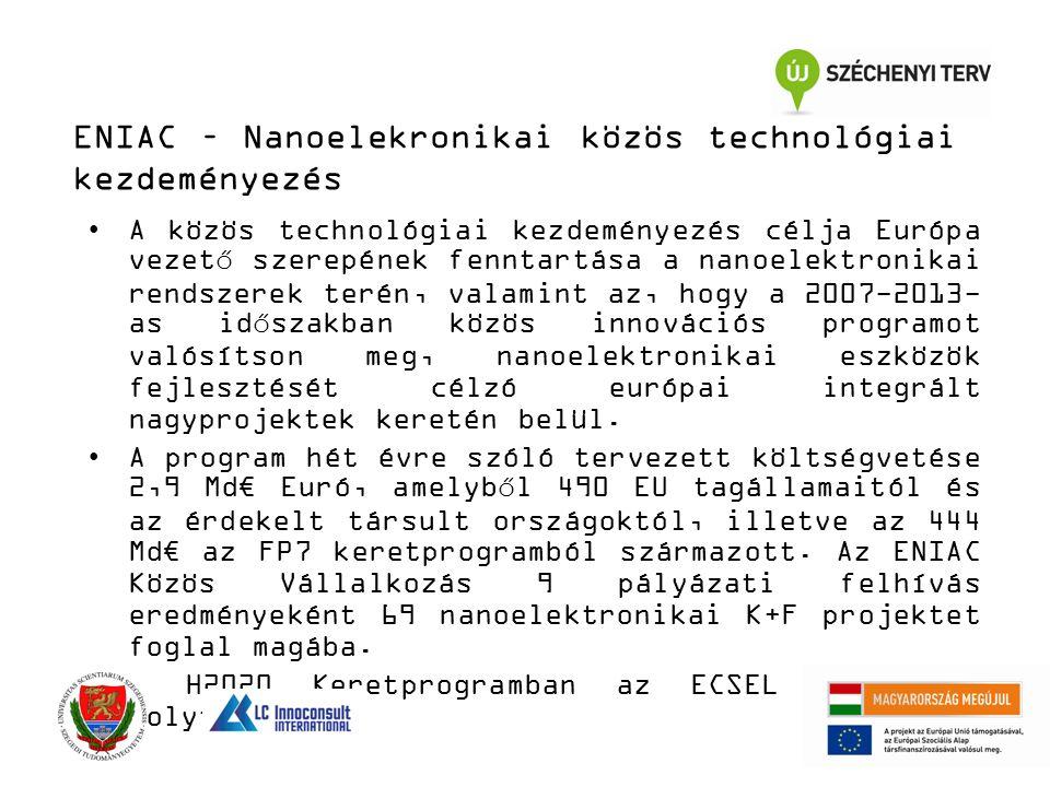 ENIAC – Nanoelekronikai közös technológiai kezdeményezés A közös technológiai kezdeményezés célja Európa vezető szerepének fenntartása a nanoelektronikai rendszerek terén, valamint az, hogy a 2007-2013- as időszakban közös innovációs programot valósítson meg, nanoelektronikai eszközök fejlesztését célzó európai integrált nagyprojektek keretén belül.