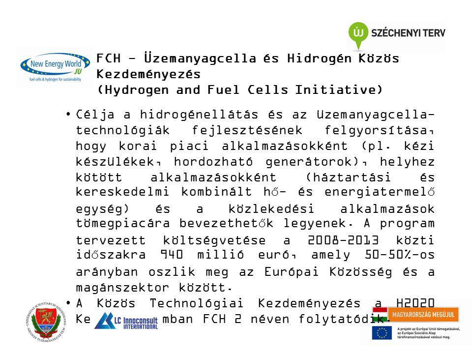 FCH - Üzemanyagcella és Hidrogén Közös Kezdeményezés (Hydrogen and Fuel Cells Initiative) Célja a hidrogénellátás és az üzemanyagcella- technológiák fejlesztésének felgyorsítása, hogy korai piaci alkalmazásokként (pl.