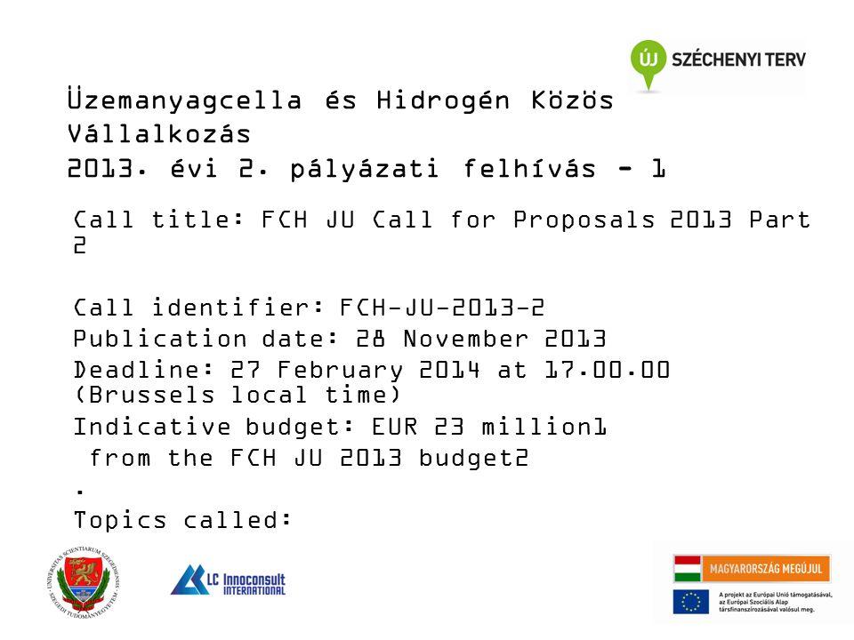 Üzemanyagcella és Hidrogén Közös Vállalkozás 2013. évi 2. pályázati felhívás - 1 Call title: FCH JU Call for Proposals 2013 Part 2 Call identifier: FC