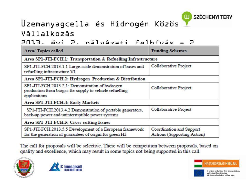 Üzemanyagcella és Hidrogén Közös Vállalkozás 2013. évi 2. pályázati felhívás - 2
