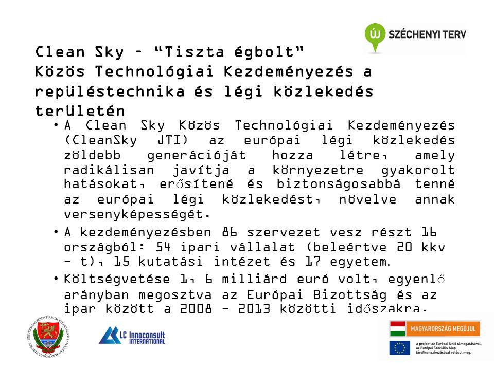 Clean Sky – Tiszta égbolt Közös Technológiai Kezdeményezés a repüléstechnika és légi közlekedés területén A Clean Sky Közös Technológiai Kezdeményezés (CleanSky JTI) az európai légi közlekedés zöldebb generációját hozza létre, amely radikálisan javítja a környezetre gyakorolt hatásokat, erősítené és biztonságosabbá tenné az európai légi közlekedést, növelve annak versenyképességét.