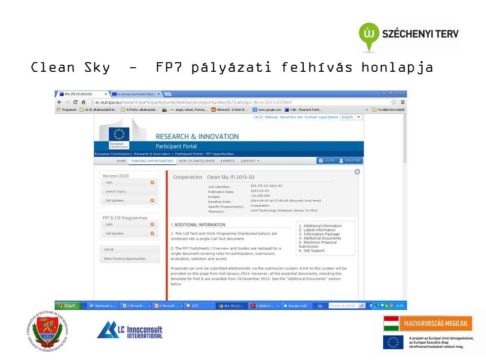 Clean Sky - FP7 pályázati felhívás honlapja