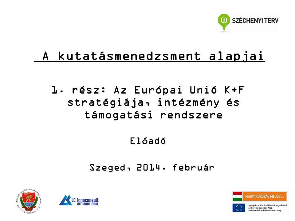 A kutatásmenedzsment alapjai 1. rész: Az Európai Unió K+F stratégiája, intézmény és támogatási rendszere Előadó Szeged, 2014. február