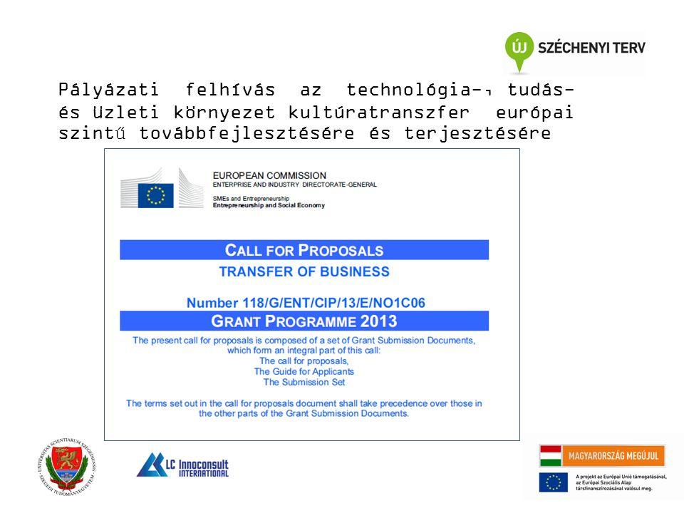 Pályázati felhívás az technológia-, tudás- és üzleti környezet kultúratranszfer európai szintű továbbfejlesztésére és terjesztésére