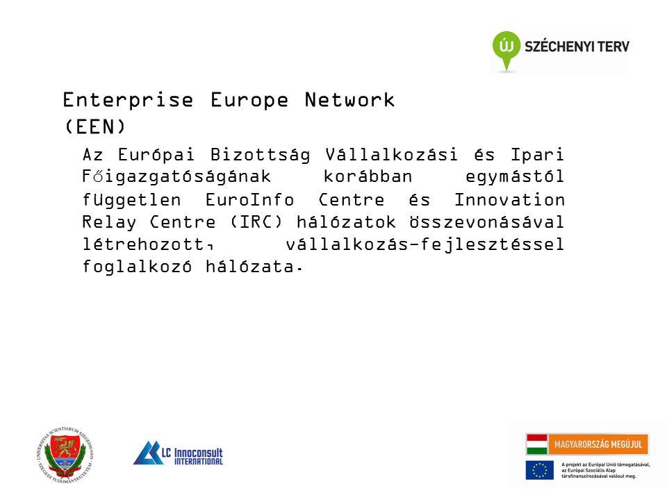 Enterprise Europe Network (EEN) Az Európai Bizottság Vállalkozási és Ipari Főigazgatóságának korábban egymástól független EuroInfo Centre és Innovation Relay Centre (IRC) hálózatok összevonásával létrehozott, vállalkozás-fejlesztéssel foglalkozó hálózata.