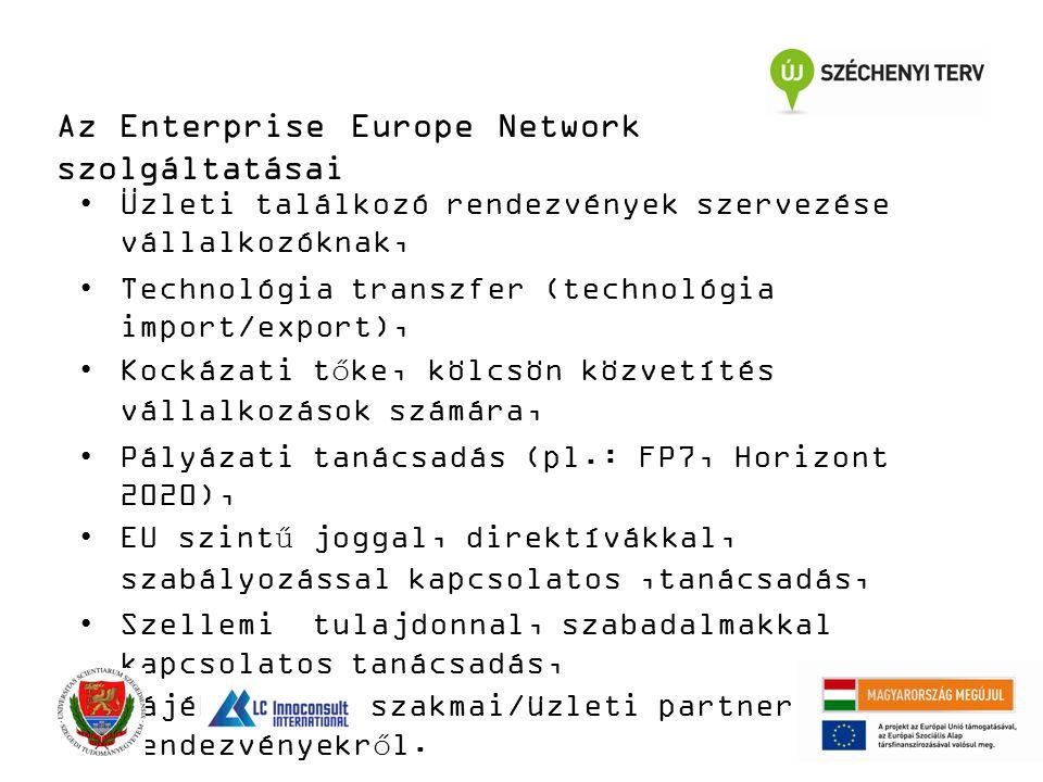 Az Enterprise Europe Network szolgáltatásai Üzleti találkozó rendezvények szervezése vállalkozóknak, Technológia transzfer (technológia import/export), Kockázati tőke, kölcsön közvetítés vállalkozások számára, Pályázati tanácsadás (pl.: FP7, Horizont 2020), EU szintű joggal, direktívákkal, szabályozással kapcsolatos,tanácsadás, Szellemi tulajdonnal, szabadalmakkal kapcsolatos tanácsadás, Tájékoztatás szakmai/üzleti partnerkereső rendezvényekről.