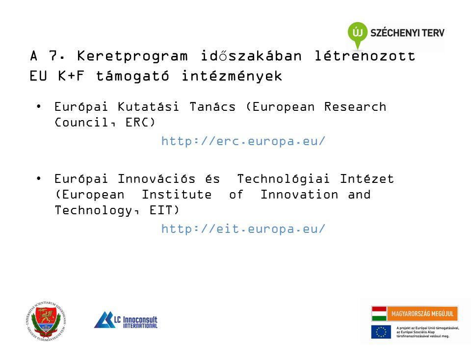 A 7. Keretprogram időszakában létrehozott EU K+F támogató intézmények Európai Kutatási Tanács (European Research Council, ERC) http://erc.europa.eu/ E