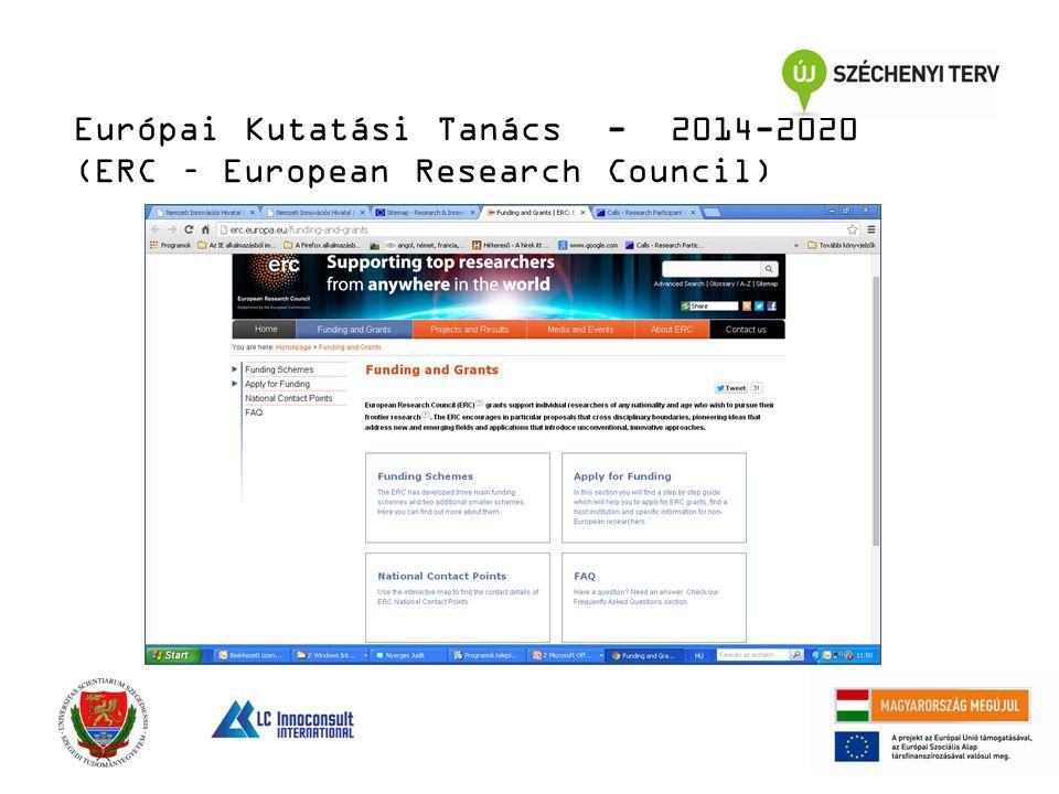 Európai Kutatási Tanács - 2014-2020 (ERC – European Research Council)