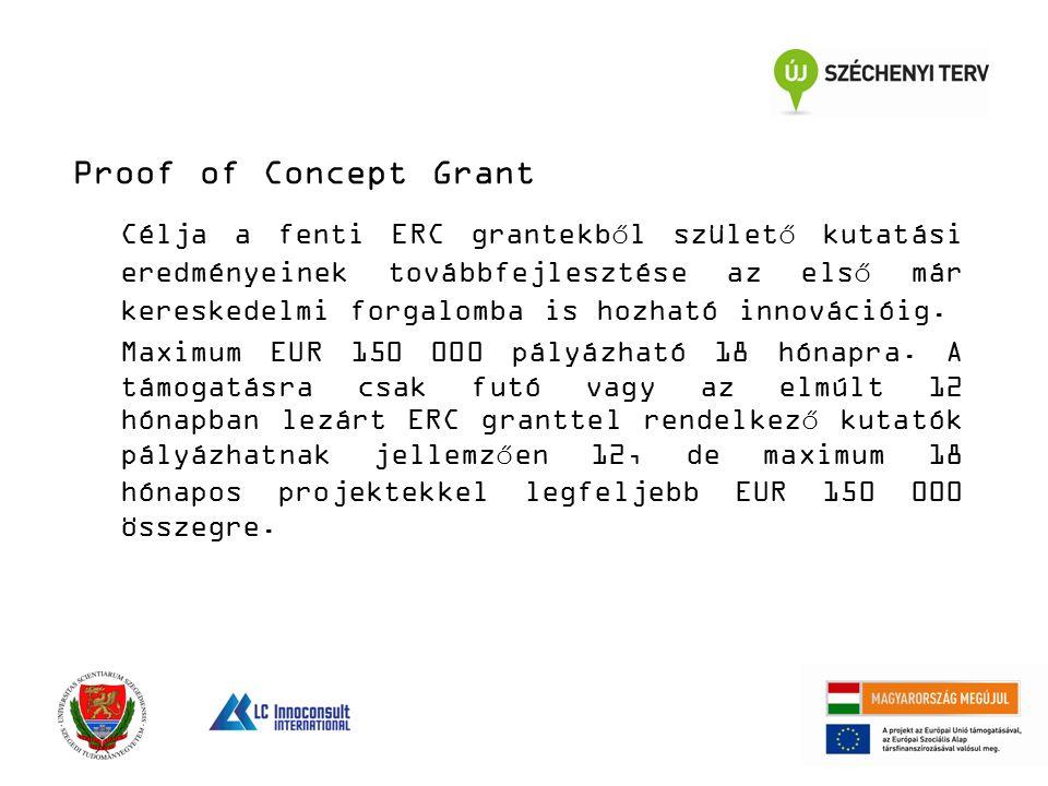 Proof of Concept Grant Célja a fenti ERC grantekből születő kutatási eredményeinek továbbfejlesztése az első már kereskedelmi forgalomba is hozható innovációig.