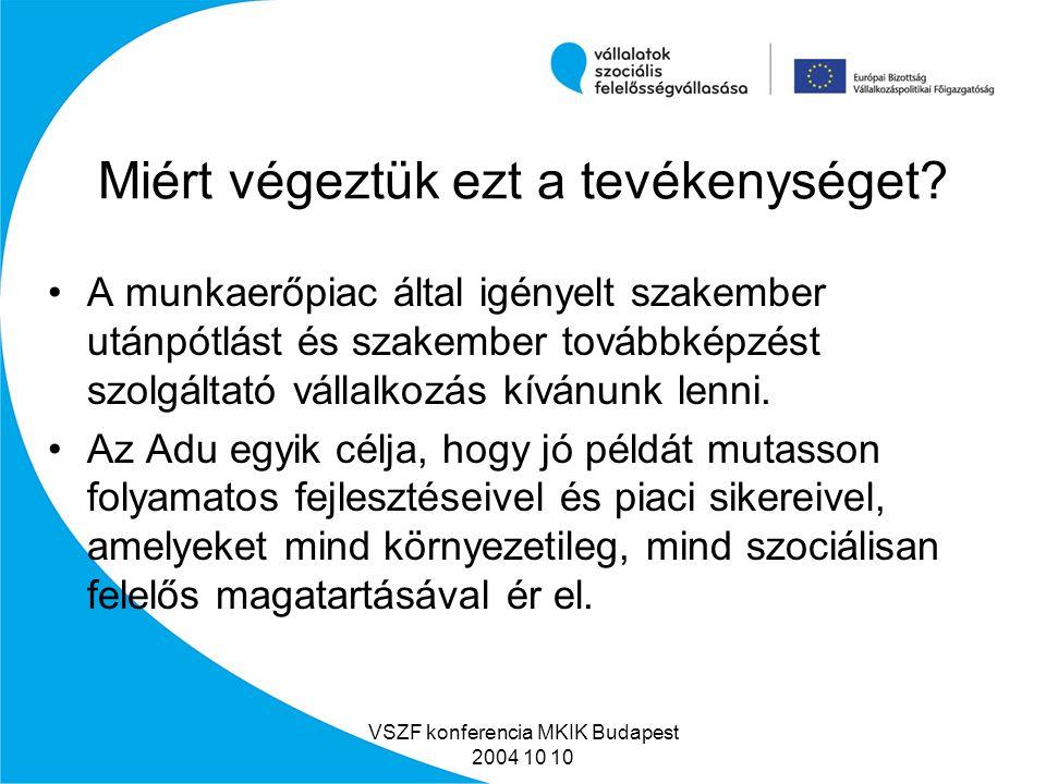 VSZF konferencia MKIK Budapest 2004 10 10 Adu Oktatási Központ