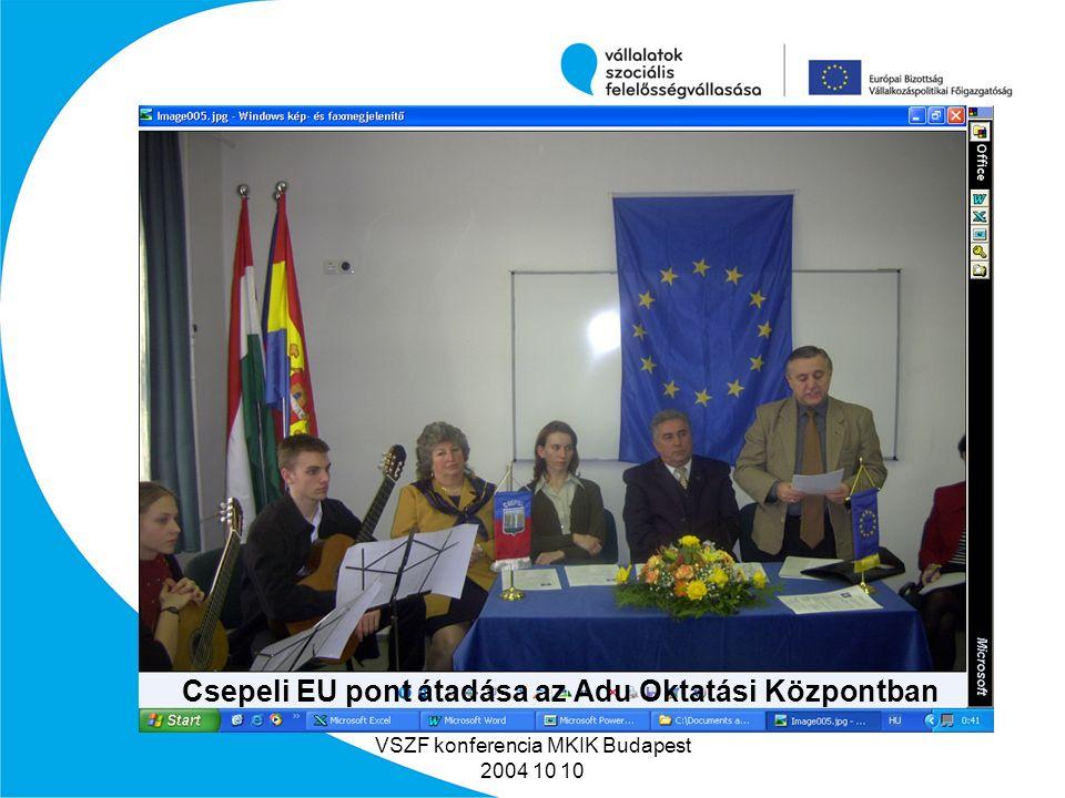 VSZF konferencia MKIK Budapest 2004 10 10 Miért végeztük ezt a tevékenységet.