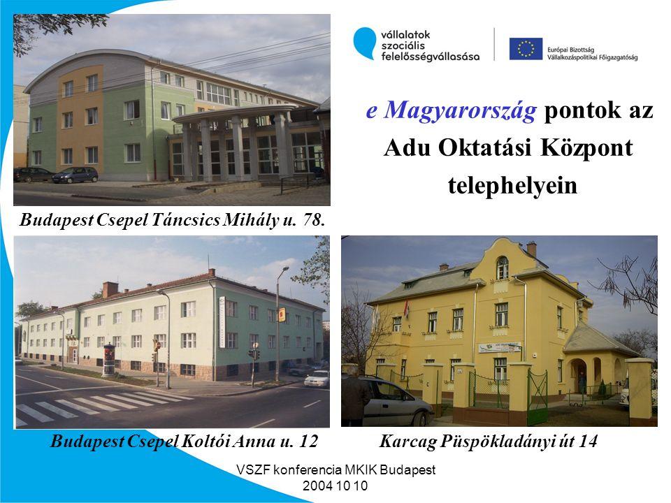 VSZF konferencia MKIK Budapest 2004 10 10 Csepeli EU pont átadása az Adu Oktatási Központban