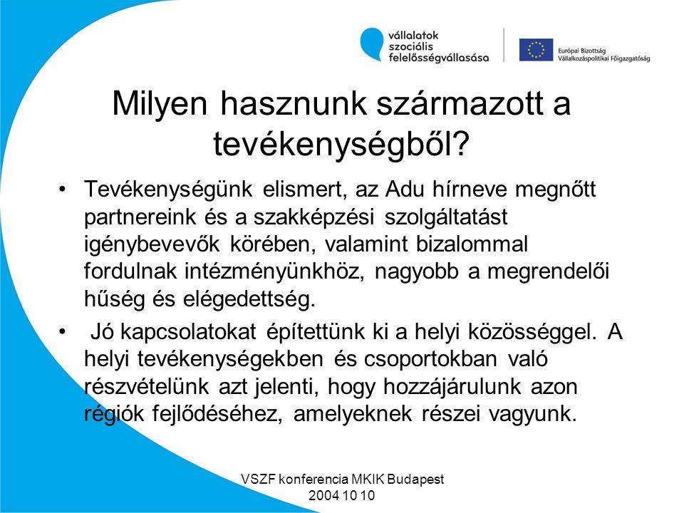 VSZF konferencia MKIK Budapest 2004 10 10 Karcag Püspökladányi út 14 Budapest Csepel Táncsics Mihály u.