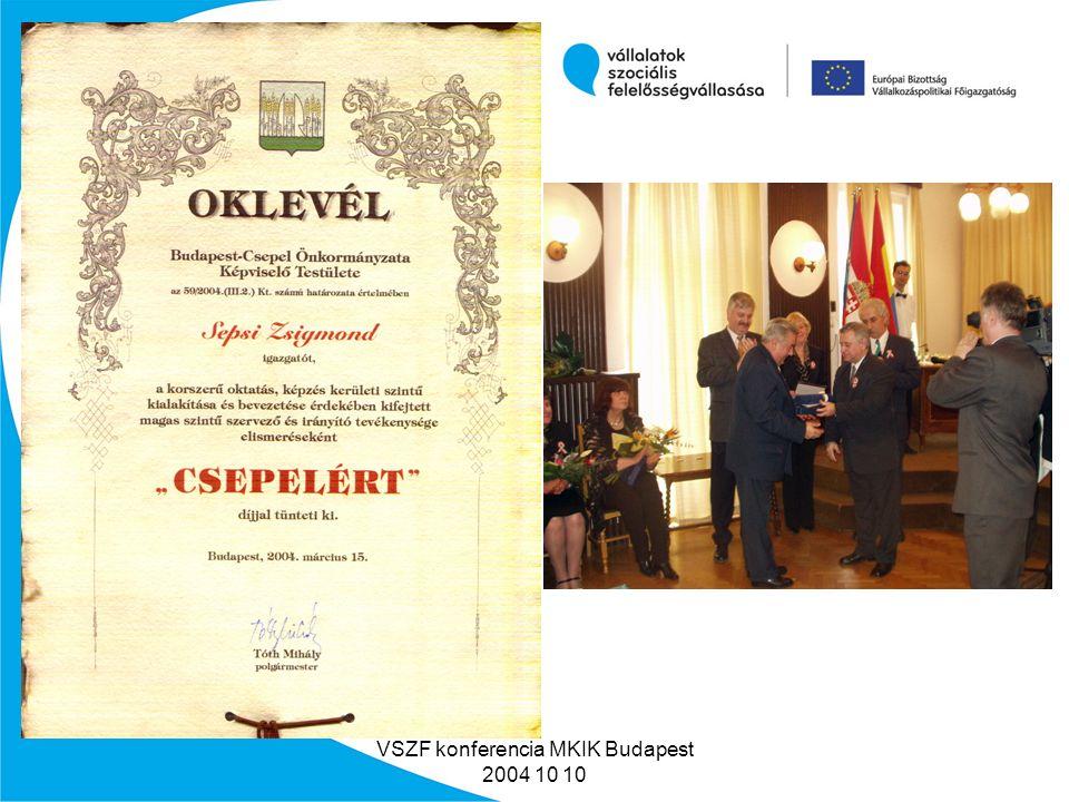 VSZF konferencia MKIK Budapest 2004 10 10 Milyen hasznunk származott a tevékenységből.