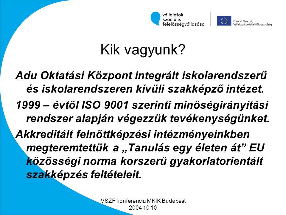 VSZF konferencia MKIK Budapest 2004 10 10 Az előadás tartalma Kik vagyunk.