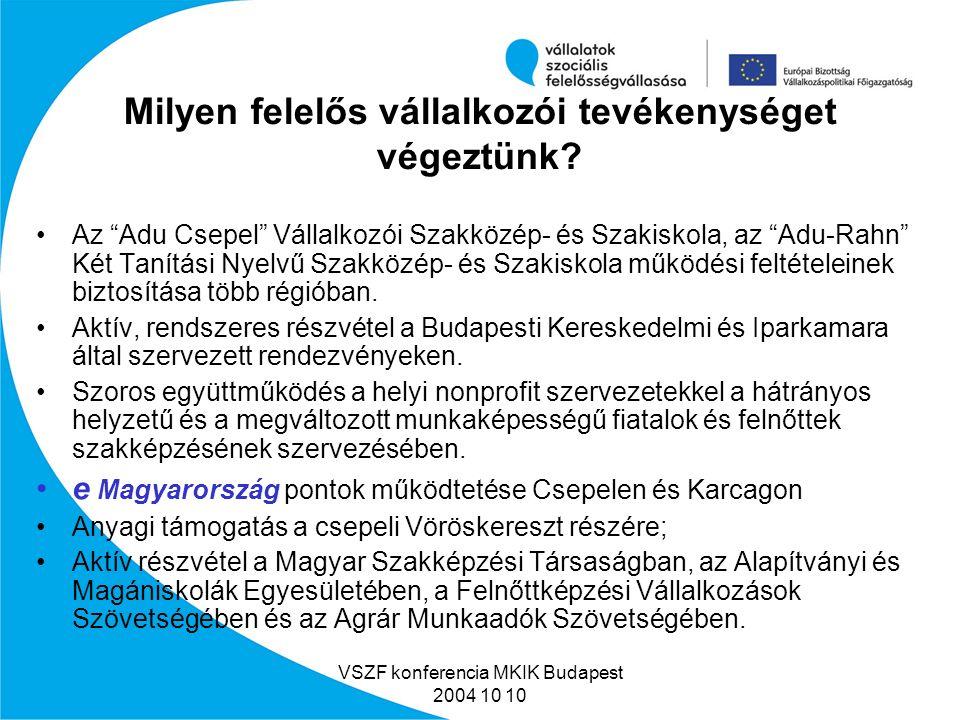 VSZF konferencia MKIK Budapest 2004 10 10 Adu Oktatási Központ képzési helyei Szolnok Miskolc Nyíregyháza Békéscsaba Pécs Kaposvár Nagykanizsa Győr Szombathely Ózd