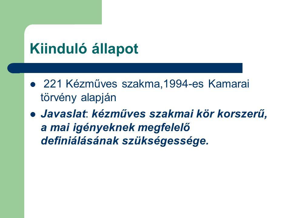 Kiinduló állapot 221 Kézműves szakma,1994-es Kamarai törvény alapján Javaslat: kézműves szakmai kör korszerű, a mai igényeknek megfelelő definiálásának szükségessége.