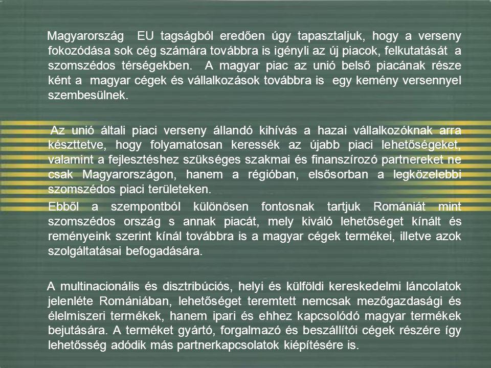 Magyarország EU tagságból eredően úgy tapasztaljuk, hogy a verseny fokozódása sok cég számára továbbra is igényli az új piacok, felkutatását a szomszédos térségekben.