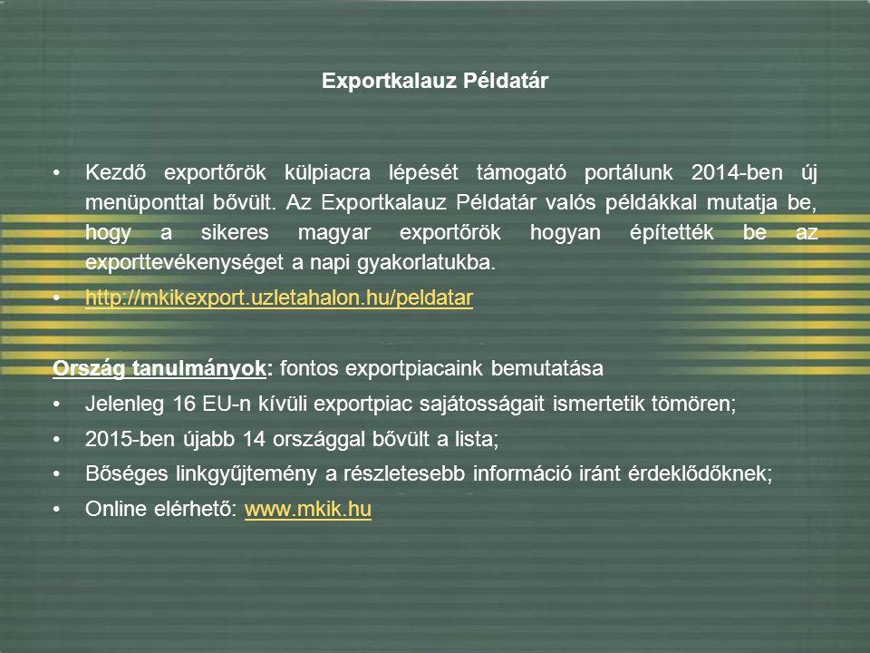 Exportkalauz Példatár Kezdő exportőrök külpiacra lépését támogató portálunk 2014-ben új menüponttal bővült.