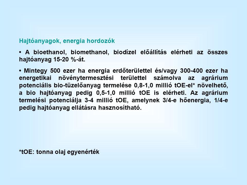 Hajtóanyagok, energia hordozók A bioethanol, biomethanol, biodízel előállítás elérheti az összes hajtóanyag 15-20 %-át.