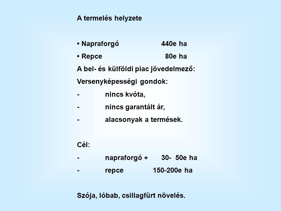 A termelés helyzete Napraforgó440e ha Repce 80e ha A bel- és külföldi piac jövedelmező: Versenyképességi gondok: -nincs kvóta, -nincs garantált ár, -alacsonyak a termések.