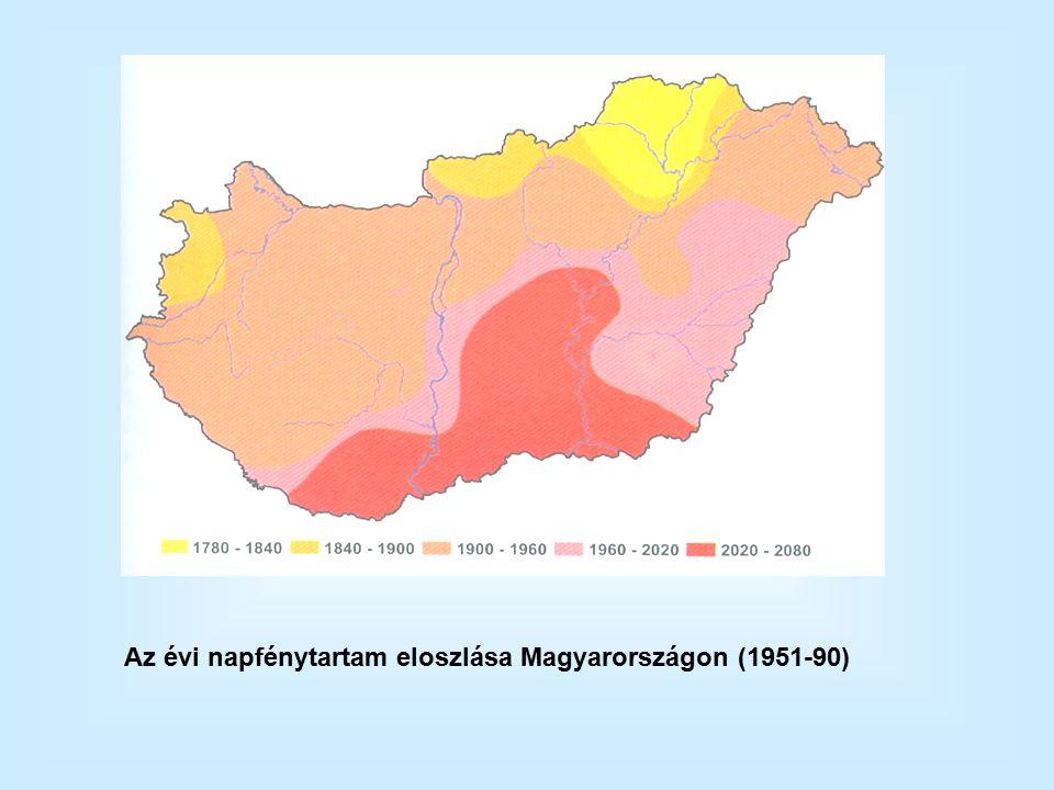 Az évi napfénytartam eloszlása Magyarországon (1951-90)