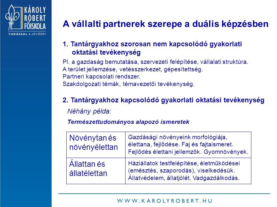 A vállalti partnerek szerepe a duális képzésben 1.