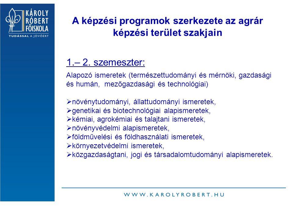 A képzési programok szerkezete az agrár képzési terület szakjain 1.– 2.